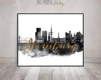 Wall art print, Hamburg watercolor print, Black and white, travel poster, faux gold text, room decor, Gift, home decor, ArtPrintsVicky