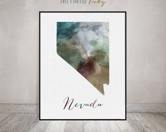 Nevada State Map Etsy - Nevada state map