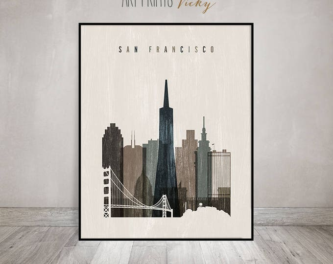 San Francisco skyline art print, poster, Travel decor, Wall art, California art, distressed, City poster, Home Decor, ArtPrintsVicky