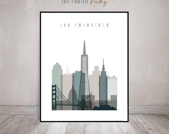 San Francisco print, Poster, Wall art, Travel gift, San Francisco skyline, City poster, Typography art, Home Decor, ArtPrintsVicky