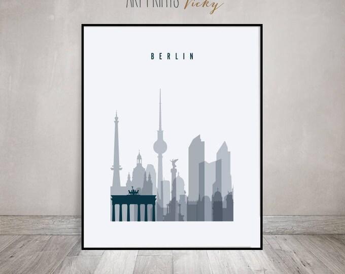 Berlin poster, Berlin skyline, art print, Wall art, Germany cityscape, City poster, Travel decor, Home Decor, Digital Print, ArtPrintsVicky