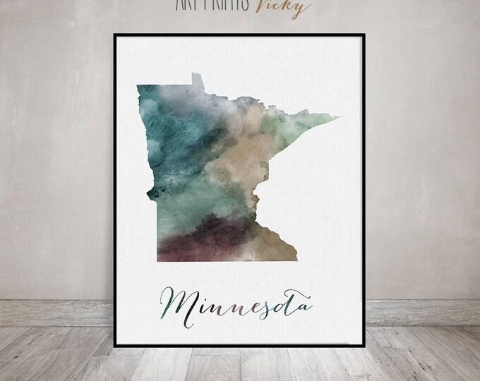Minnesota state map, Watercolor map, Wall art Minnesota map poster Minnesota state watercolor print fine art watercolor print ArtPrintsVicky
