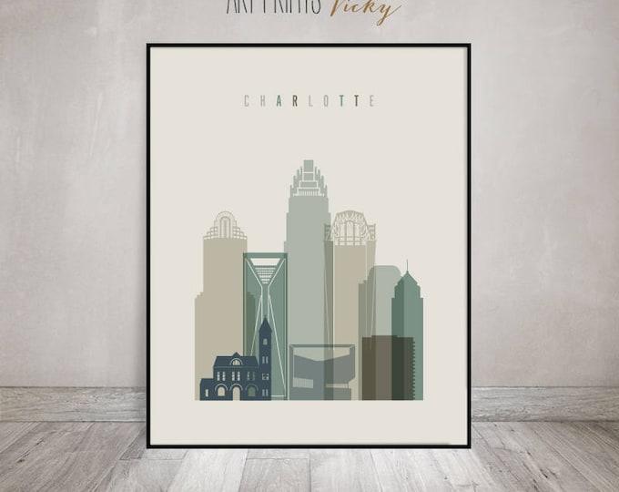 Charlotte art print, Poster, Wall art, Charlotte skyline, housewarming gift, City prints, Travel poster, Home Decor, Gift, ArtPrintsVicky