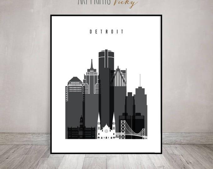 Detroit skyline print, Black and white Poster, Wall art, Michigan cityscape, housewarming gift, City poster, Home Decor, ArtPrintsVicky