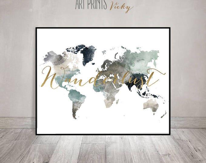 world map poster wanderlust print    ArtPrintsVicky.com