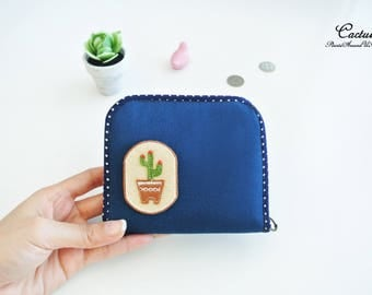 Cactus Lovers Mini Zipper Purse, Mini Wallet, Bi-fold Wallet, Organizer Wallet, Zipper Wallet, Small Wallet - Made to Order