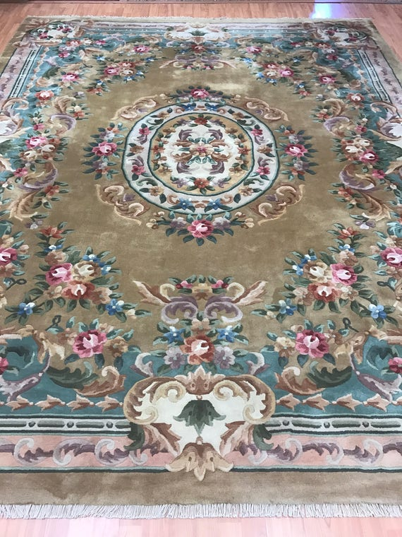 8' x 10' Chinese Aubusson Oriental Rug - 1980s - Hand Made - 100% Wool