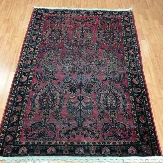 5' x 7' Antique Persian Sarouk Oriental Rug - 1920s - Hand Made - 100% Wool