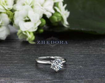 1.5 CT Round Solitaire Engagement Ring Solid 14/18k White Gold , Moissanite Wedding Ring, White Sapphire Ring, Solitaire 6 prong, Birthstone