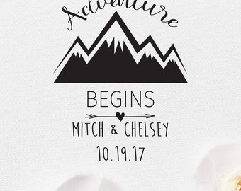 And So The Adventure Begins Wedding Stamp, Custom Wedding Stamp, Custom Rubber Stamp