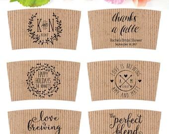 Wedding Coffee Sleeve Stamp - Coffee Wedding Favor - Coffee Cup Sleeve Stamp - Bridesmaid Shower Custom Coffee Favor - Personalized Coffee