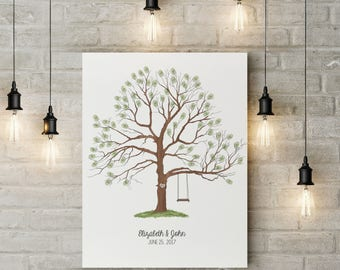 Guestbook tree print, Wedding alternative guestbook, Thumbprint tree printable wedding,  Fingerprint sign tree, Baby shower fingerprint tree