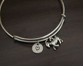 Goat Bangle Bracelet - Animal Lover Gift- Farmer Gift - Rancher - Herder - Heart