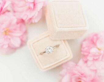 Ring Box - Velvet Ring Box - Vintage Style - Proposal Ring Box - Engagement ring box - Wedding - Personalized Gift - Cream