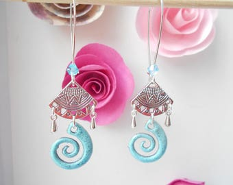 fan earrings and turquoise spiral