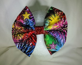 Fourth of July Fire Works hair bow