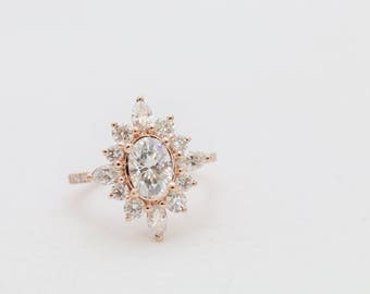Halo Engagement Ring, Moissanite Ring, Moissanite engagement ring, rose gold moissanite engagement ring, engagement ring, Diamond ring