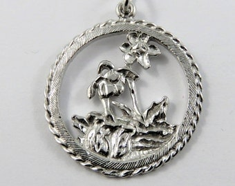 Two Flowers Blooming in a Garden Sterling Silver Charm of Pendant.