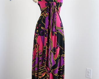 90s Does 1970s Dress - Boho Abstract Backless Maxi Dress - XS - Silk - Summer Midi Dress - Tie Waist - Black Pink Party Dress - Guess