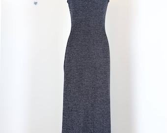 1970s Lurex Evening Maxi Dress - S/M - Vintage Cowl Neck Dress - Sleeveless - Low Back - Silver Black - Body Con - Metallic Evening Dress