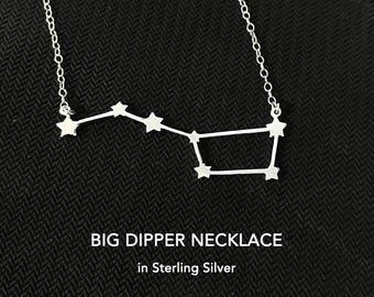 Big Dipper Necklace, Big Dipper Jewelry, Ursa Major Necklace, Big Dipper Gift, Constellation Necklace, Big Dipper, Star Map, Night Sky