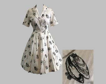 1950s Novelty Oysters Clams Pearls Shell Blouse and Skirt Set