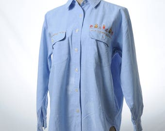 Vintage blue cotton embroidered shirt with white paint splash design