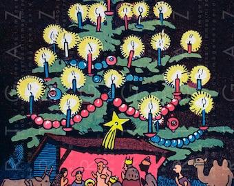 CHRISTMAS TREE & MANGER Vintage Illustration Great For Cards. Rare Digital Christmas Download.