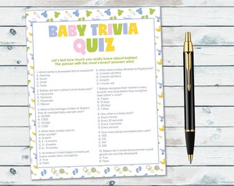 Baby Shower Trivia Game, Baby Trivia Quiz Printable, Neutral Gender Baby Shower Game, Baby Facts Quiz