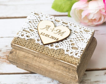 Wedding Ring Box Personalized Wooden Ring Pillow Rustic Ring Holder Ring Bearer Box