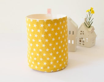 Yellow fabric basket with stars, fabric storage , yellow , stylish toys basket , kitchen basket, for the home , stars ,