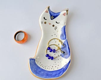 Ceramic Cat Jewellery Storage, Cat Ring Dish, Tiny Cat Ring Holder, , Decorated with Platinum