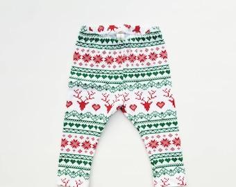 Fair Isle Deer Plaid Leggings, Child unisex holiday leggings
