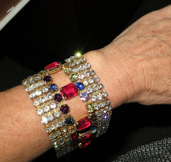 Vintage Czech 1950s signed blue, pink  and clear rhinestone wide bracelet