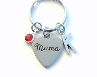 Mama KeyChain, Family Heart Key Chain, Mother Keyring, Initial birthstone present Birthday Personalized her from kids children Christmas son
