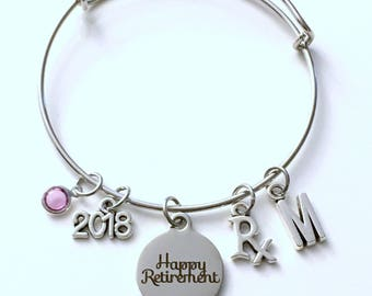 Retirement Gift for Pharmacist, Pharmacy Technician, RX Tech Charm Bracelet Jewelry Silver Bangle Coworker letter initial birthstone Present