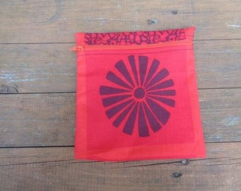 Sunburst Red 1 Fabric Medium Poppins Waterproof Lined Zip Pouch - Sandwich bag - Eco - Snack Bag - Bikini Bag - Lunch Bag - Tool Bag - Swim