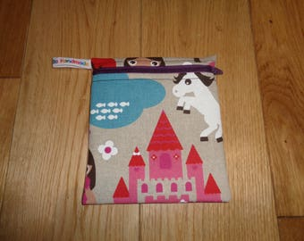 Snack Bag - Bikini Bag - Lunch Bag  - Zero Waste Medium Poppins Waterproof Lined Zip Pouch - Sandwich bag - Eco - Princess Unicorn Castle