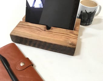 Charging Station wood reclaimed Christmas gift for men rustic wood ipad docking station ipad stand