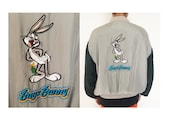 Vintage 90's 100% SILK looney tunes bugs bunny grey gray black embroidered zip up bomber jacket