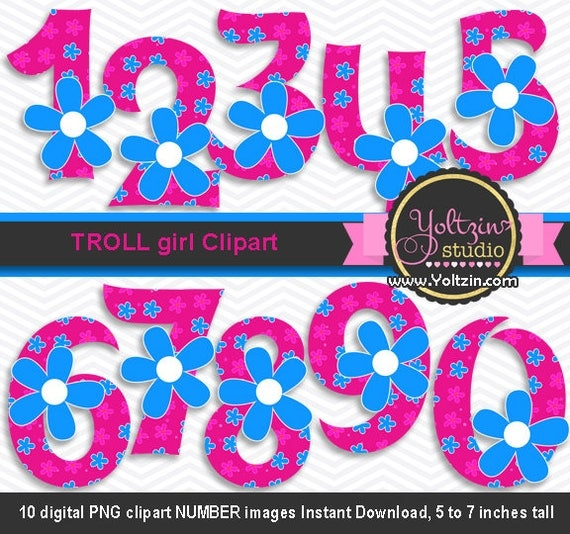 Trolls Clipart Poppy Numbers Hot Pink Blue Flower Girl Age Digital Clip Art  Png Images Characters Girly