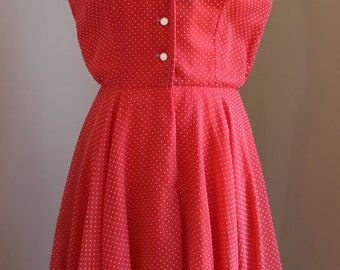 1950s Red Polka Dot Day Dress
