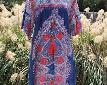vintage unique 70's worn in dashiki cotton dress