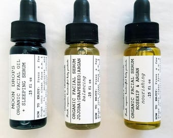 Organic Face Serum Set   Organic Facial Oil Sampler   Anti-Aging Serum   Face Oil   Blue Tansy