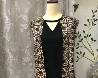 Handmade Batik Tunic, boho clothing, woman clothing, cotton, 2 in one vest effect top, batik clothing, party top, jacket effect, vest,