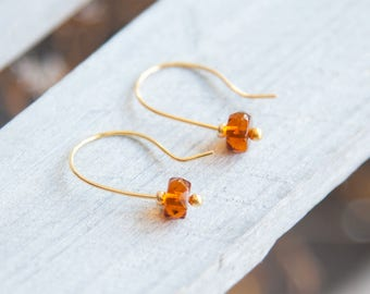 Tiny Topaz Earrings, November Birthstone Earrings, Autumn Earrings, Tiny Orange Earrings, Topaz Earrings, Earrings November Birthstone