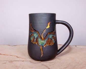 Dragon handmade coffee pottery mug