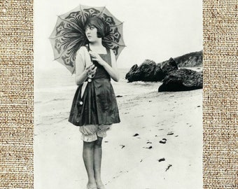 Vintage photograph, black and white photo print, vintage beauties, Lila Lee at the beach, 1920s