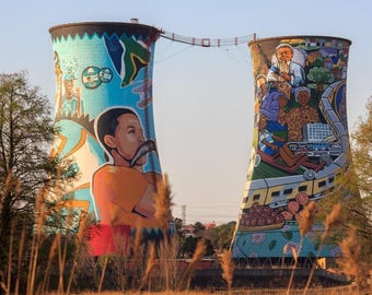 Soweto, South Africa, Orlando Towers Painted Chimneys, South Africa Photography Print, Johannesburg, Fine Art Photography, Wall Art Print