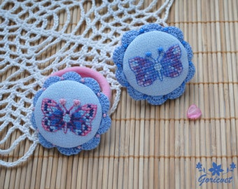 Blue hair bow Hair jewelry Butterfly gift for girl Elastic hair accessory Crochet hair bow Embroidered gift for girlfriend Blue gifts girl